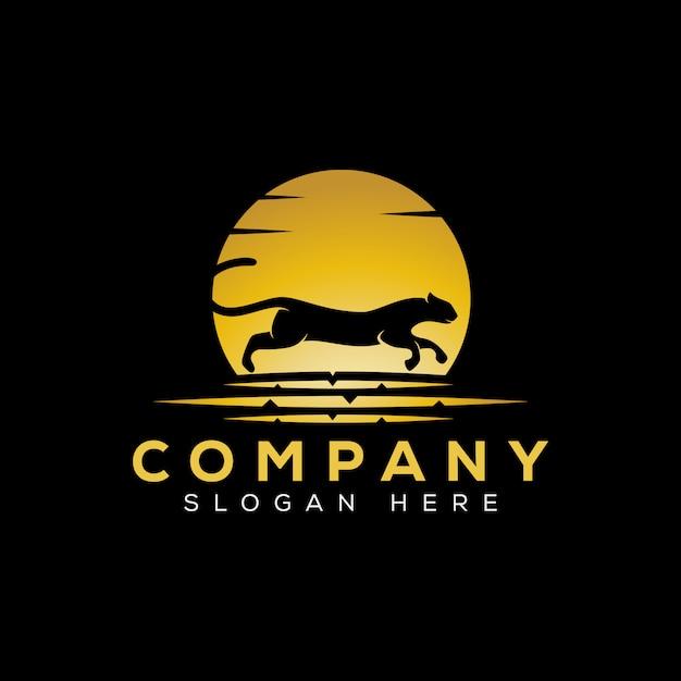 Modello di logo run jaguar di lusso dorato Vettore Premium