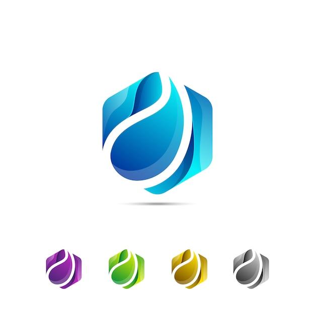 Modello di logo semplice goccia di acqua fresca esagono Vettore Premium