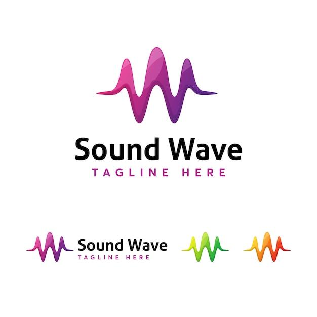 Modello di logo sound wave Vettore Premium