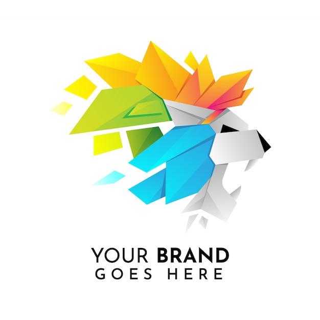Modello di logo testa di leone origami Vettore Premium