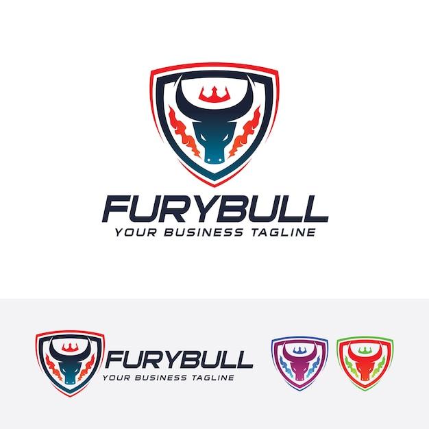 Modello di logo toro furia Vettore Premium