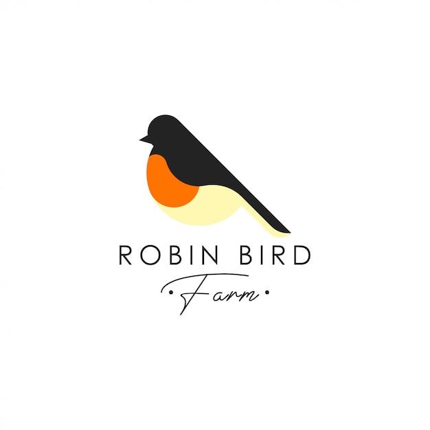 Modello di logo uccello robin. vettore logo animale. modello di logo di uccello dell'animale domestico Vettore Premium