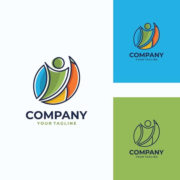 Modello di logo vettoriale umano piacevole Vettore Premium