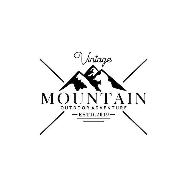 Modello di logo vintage di montagna Vettore Premium