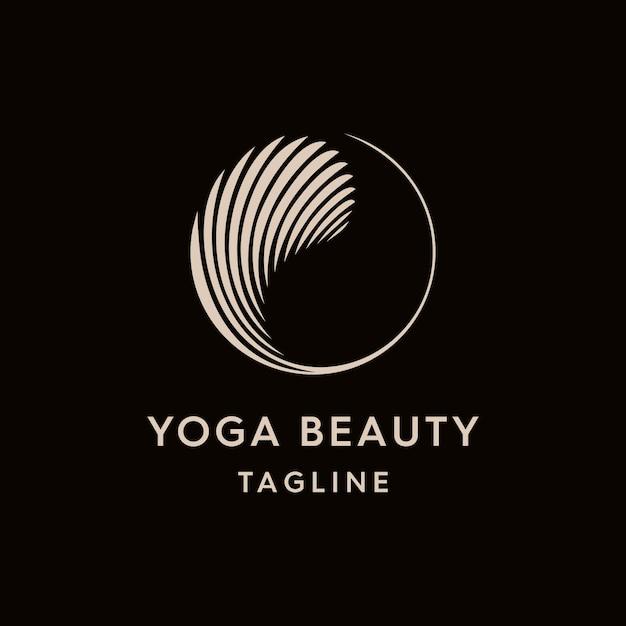 Modello di logo vintage yin e yang Vettore Premium