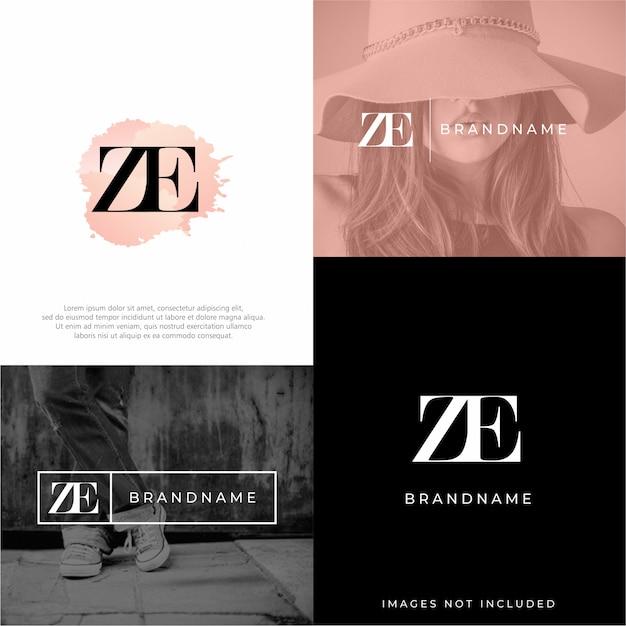 Modello di logo ze Vettore Premium