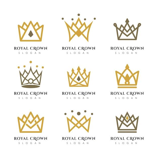 Modello di lusso corona logo vettoriale. progettazione logotipo corona lineare. Vettore Premium