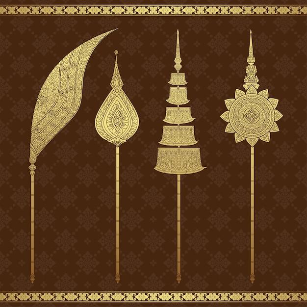 Modello di lusso del tempio e del fondo di arte tailandese Vettore Premium