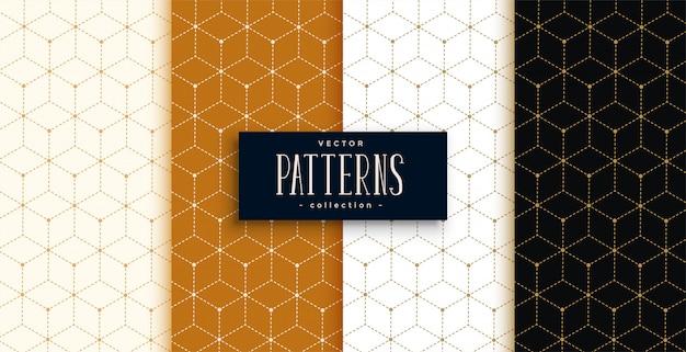 Modello di lusso esagonale impostato in stile linea geometrica Vettore gratuito