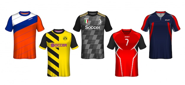 Modello di maglia da calcio design t-shirt sportiva. Vettore Premium