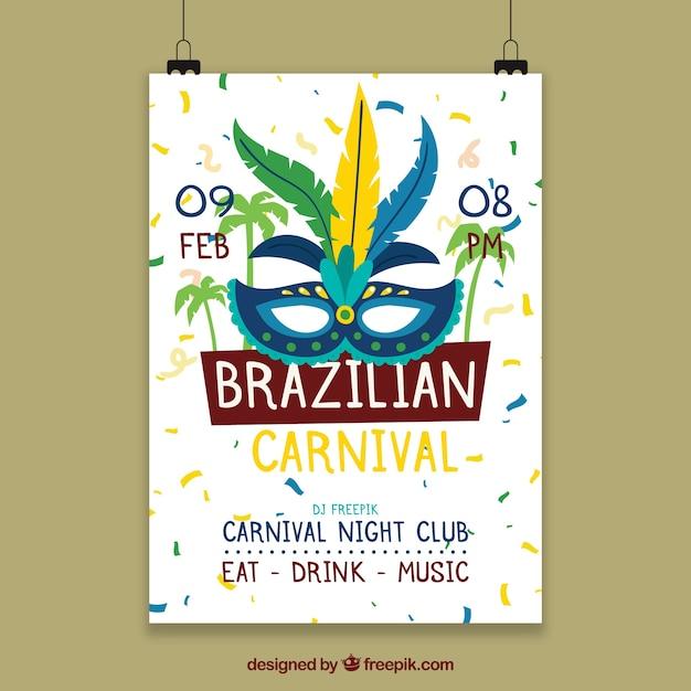 Modello di manifesto appeso per il carnevale brasiliano Vettore gratuito