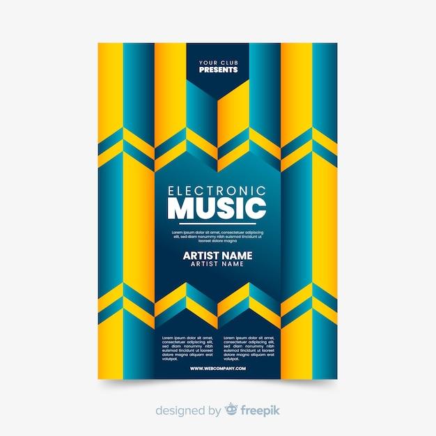 Modello di manifesto colorato musica geometrica Vettore gratuito