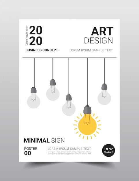 Modello di manifesto creativo design minimale. Vettore Premium