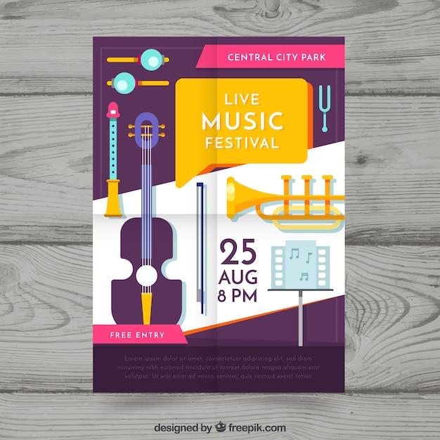 Modello di manifesto del festival con strumenti musicali Vettore gratuito