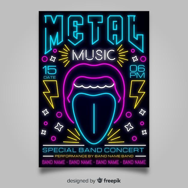 Modello di manifesto del festival di musica al neon Vettore gratuito