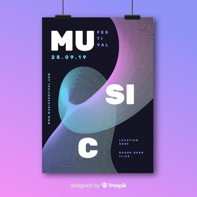 Modello di manifesto del festival di musica elettronica Vettore gratuito