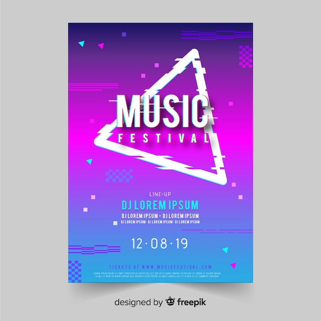 Modello di manifesto del festival di musica glitch Vettore gratuito