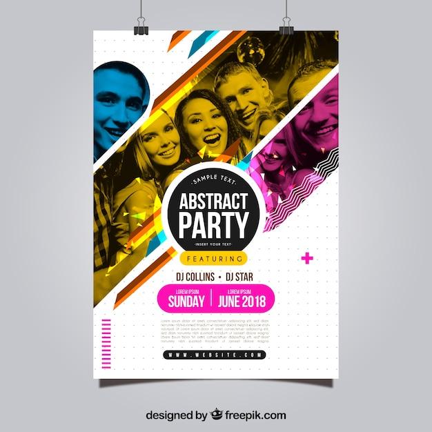 Modello di manifesto del partito con stile astratto Vettore gratuito