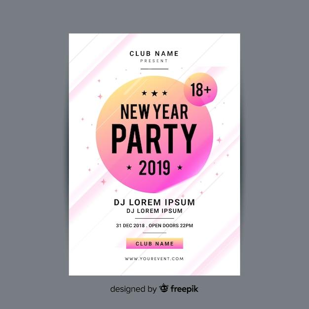 Modello di manifesto del partito di nuovo anno moderno con design piatto Vettore gratuito