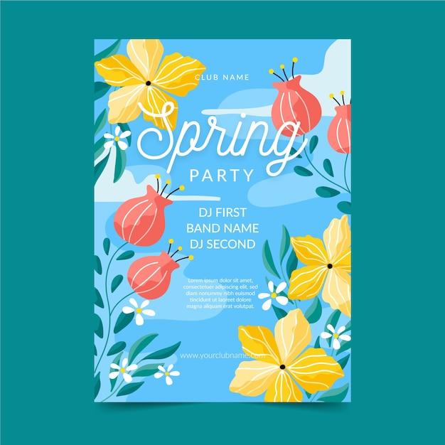 Modello di manifesto del partito di primavera design piatto Vettore gratuito