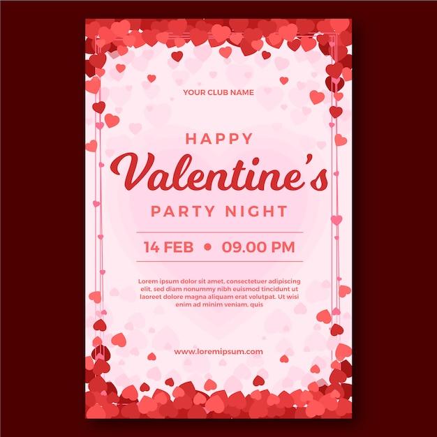 Modello di manifesto del partito di san valentino design piatto Vettore gratuito