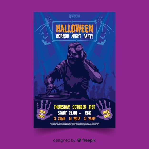Modello di manifesto del partito piatto di zombie di halloween Vettore gratuito