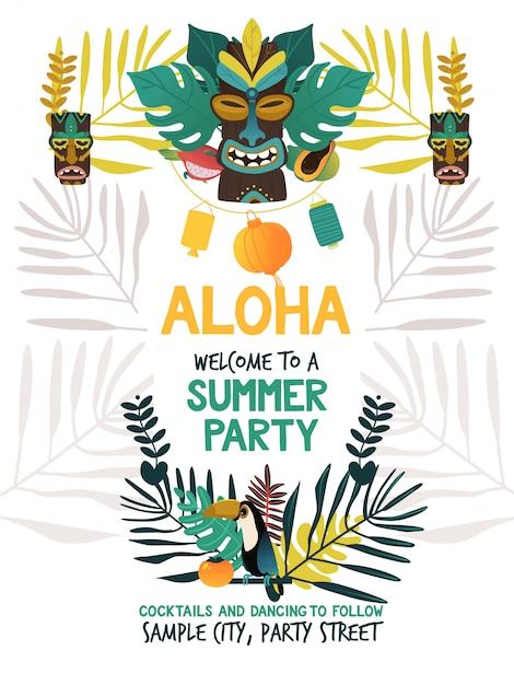 Modello di manifesto dell'invito per la festa estiva hawaiana con simboli tradizionali dell'isola di hawaii di tiki, frutti tropicali e uccelli, fiori e foglie Vettore Premium