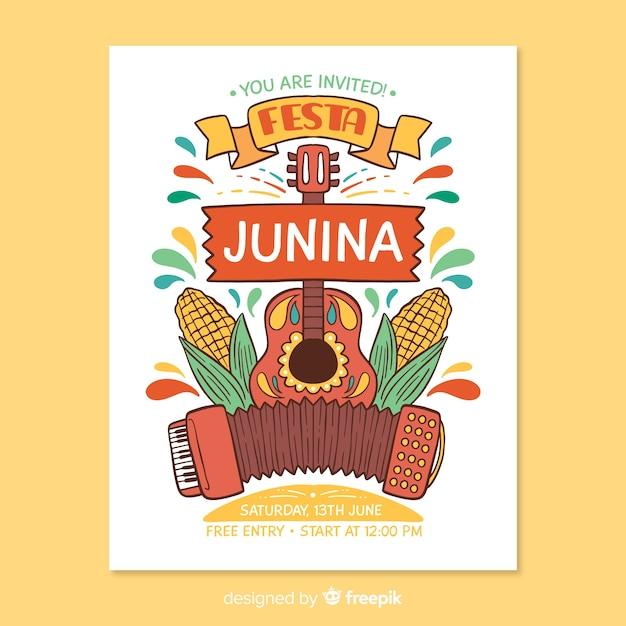 Modello di manifesto di festa junina disegnato a mano Vettore gratuito