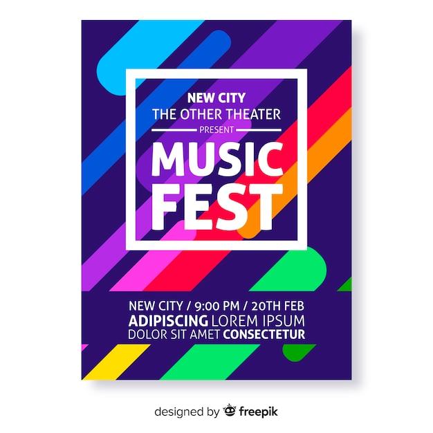 Modello di manifesto di festival di musica astratta colorato Vettore gratuito
