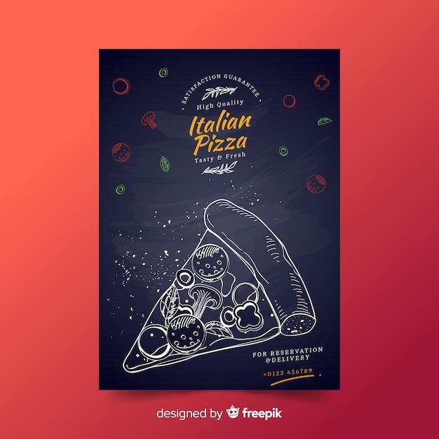 Modello di manifesto di fetta pizza disegnata a mano Vettore gratuito