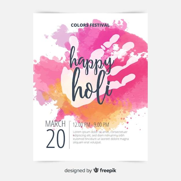 Modello di manifesto di holi handprint Vettore gratuito