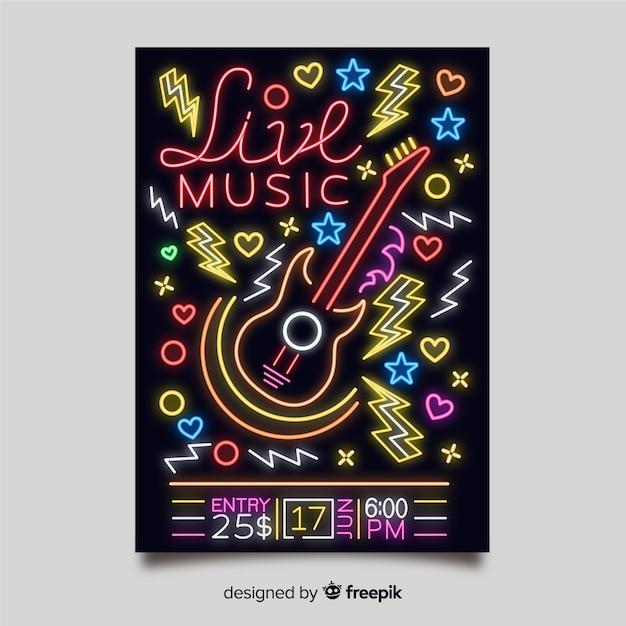 Modello di manifesto di musica al neon luce Vettore gratuito