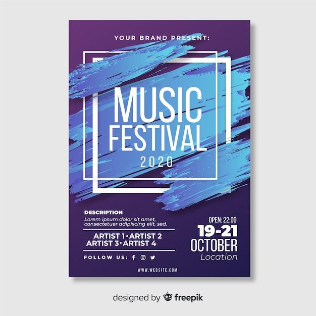Modello di manifesto di musica astratta del manifesto di musica Vettore gratuito