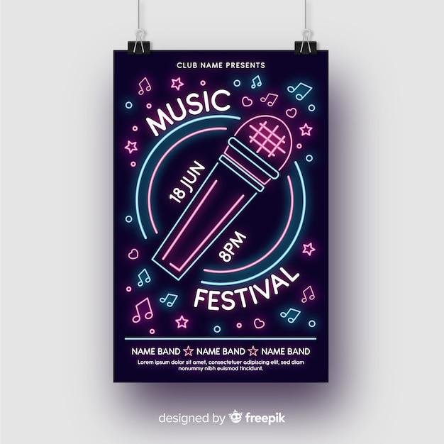 Modello di manifesto di musica di luci al neon Vettore gratuito