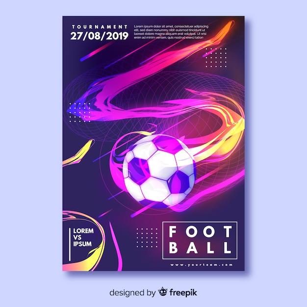 Modello di manifesto di pallone da calcio realistico Vettore gratuito