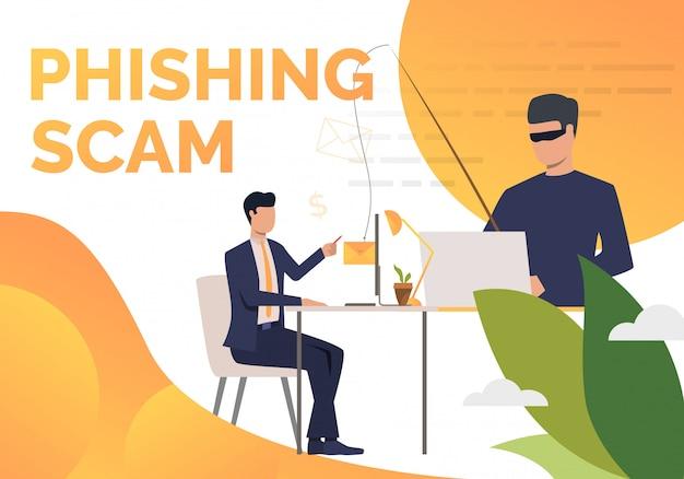 Modello di manifesto di phishing scam Vettore gratuito