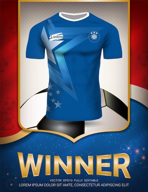 Modello di manifesto di sport con l'uniforme della maglia di calcio Vettore Premium