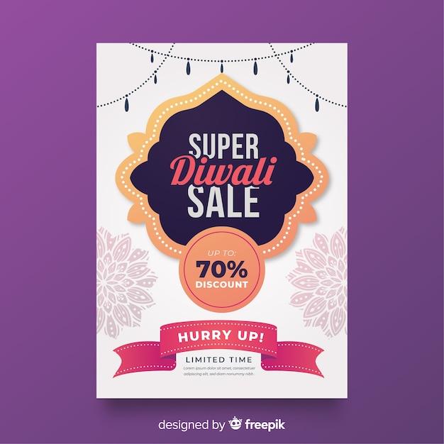 Modello di manifesto di vendita piatto diwali con nastro di offerte Vettore gratuito
