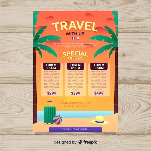 Modello di manifesto di viaggio in spiaggia Vettore gratuito