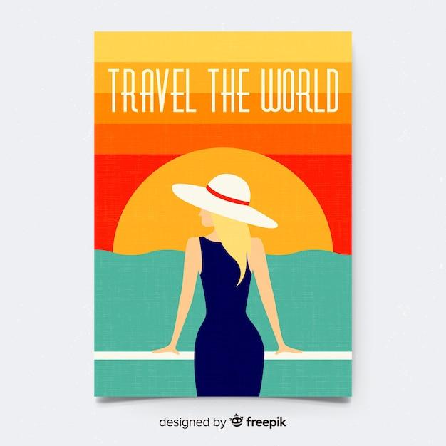 Modello di manifesto di viaggio vintage piatto Vettore gratuito