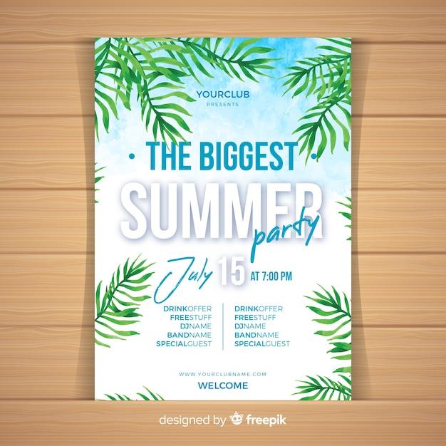 Modello di manifesto festa ad acquerello estate Vettore gratuito