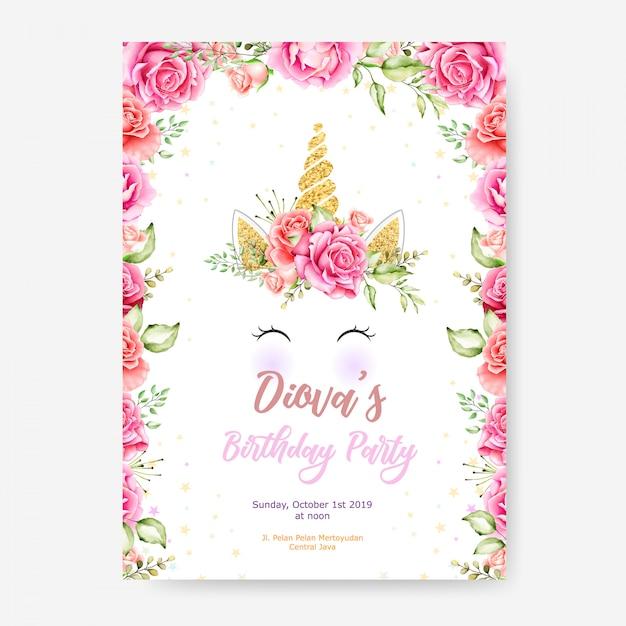 Modello di manifesto festa buon compleanno con cornice di unicorno e fiore cornice carina Vettore Premium