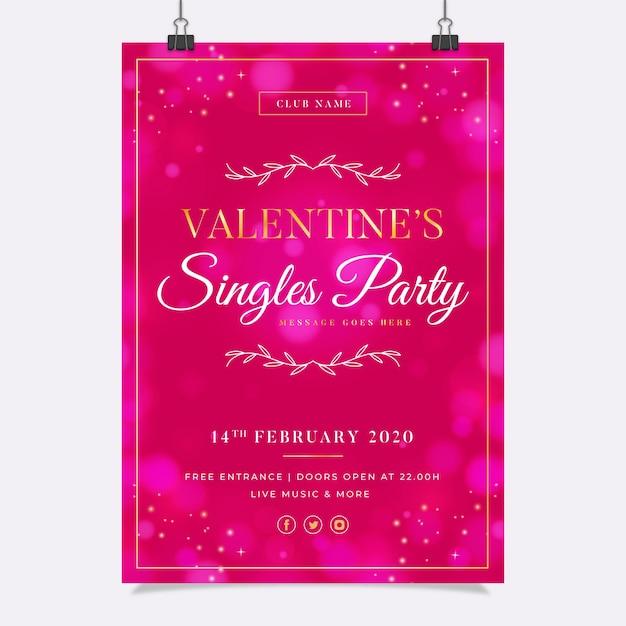 Modello di manifesto festa di san valentino offuscata Vettore gratuito