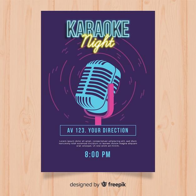 Modello di manifesto festa karaoke in stile piano Vettore gratuito