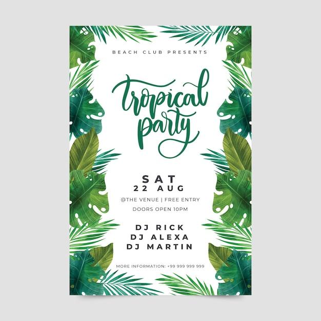 Modello di manifesto festa tropicale Vettore gratuito