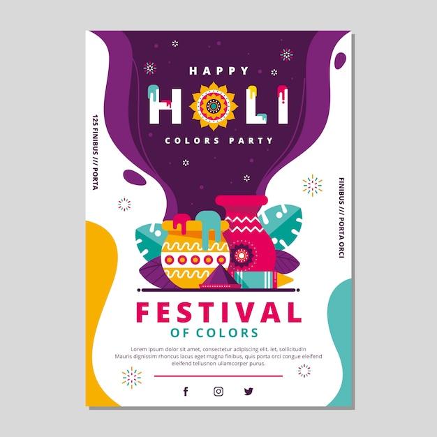 Modello di manifesto festival design piatto holi Vettore gratuito