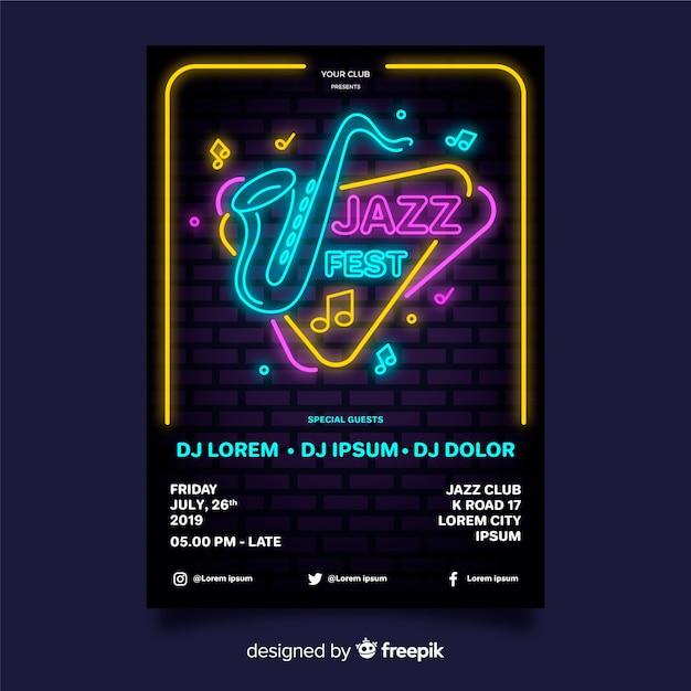 Modello di manifesto festival di musica al neon Vettore gratuito