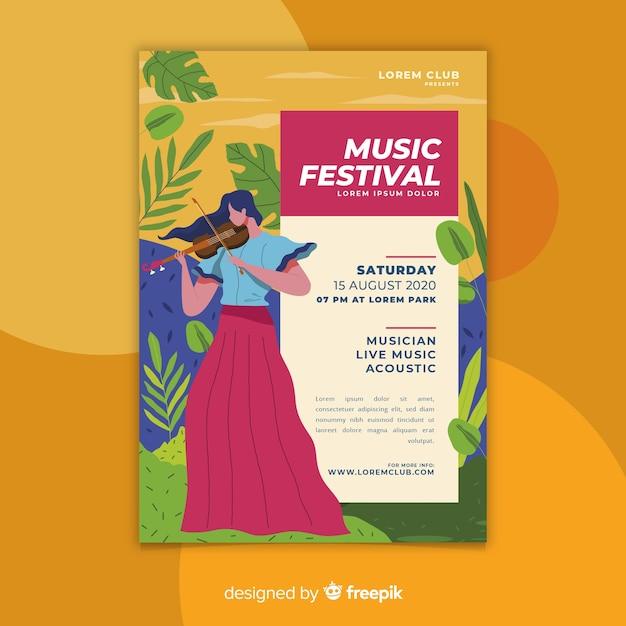 Modello di manifesto festival di musica disegnata a mano colorato Vettore gratuito
