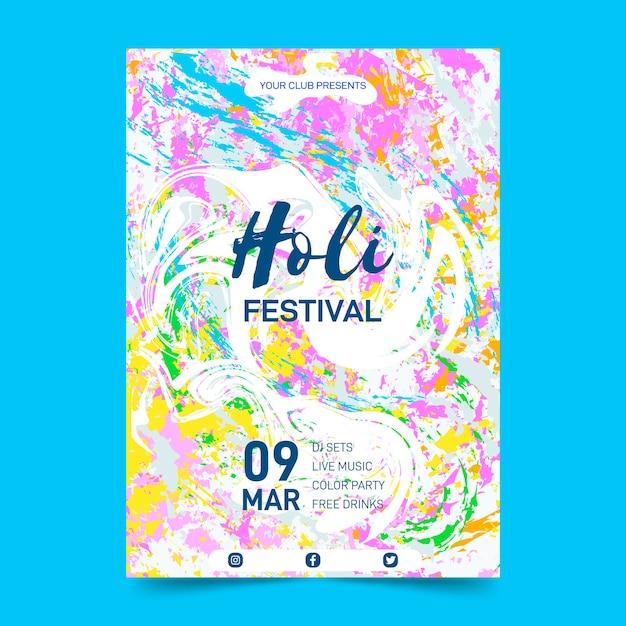 Modello di manifesto festival holi disegnati a mano Vettore gratuito