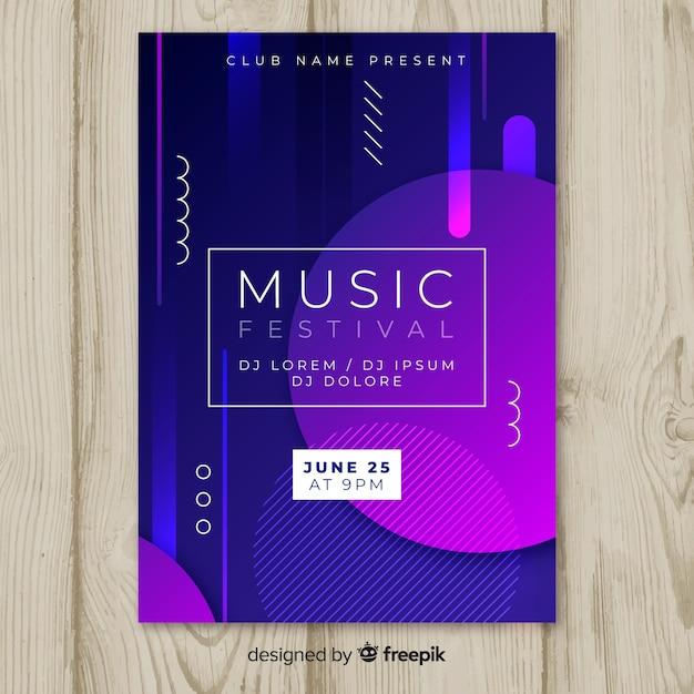 Modello di manifesto festival musica astratta Vettore gratuito